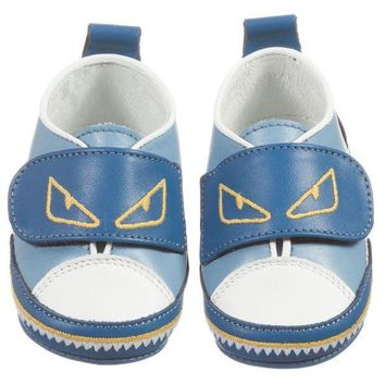 MDIGMS9 Fendi Baby Boys Blue 'Monster' Shoes