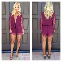 It's Knot Me It's You Long Sleeve Lace Romper - MERLOT