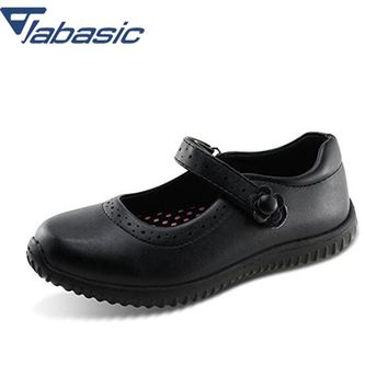 JABASIC Girls School Shoes 2018 Autumn Students Soft Leather Princess Party Girls Shoes Casual Breathable Solid Hook Loop Shoes
