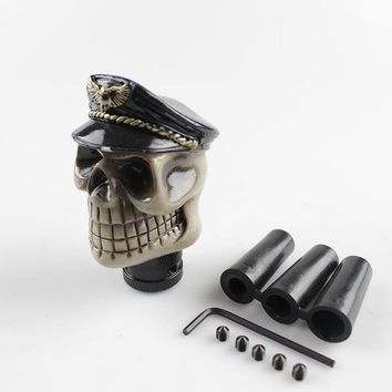 RASTP- FreeShipping Racing Car Gear Shift Knob Devil Head Knob Modified Resin Knob Soldier Skull With Hat And Glasses LS-SFN044 - Black hat