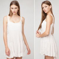 """Urban Outfitters"" Fashion Solid Color Backless Sleeveless Strap Mini Dress"