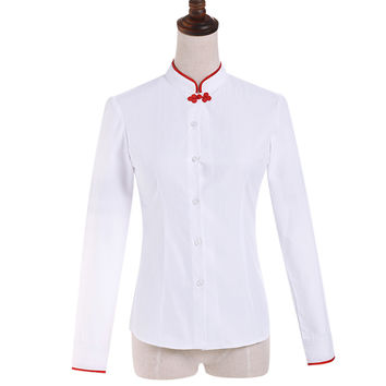 Chinese Women Shirt female Full Sleeve Mandarin Collar Simple White Blouse Tops lady Autumn Wear Clothes