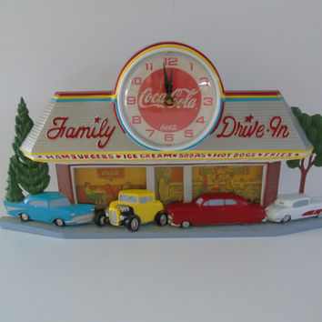 Vintage Coca Cola 1950s Style Family Drive-In Wall Clock 57 Chev Street Rod Corvette 1988 Burwood
