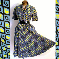 Vintage 40s Lucy Dress Day Cotton Novelty Print Blue Yellow 44 Bust XL