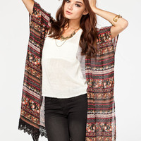 Full Tilt Crochet Trim Womens Kimono Black Multi  In Sizes