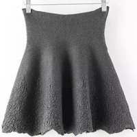 Grey High Waisted Jacquard Knitted Mini Skirt