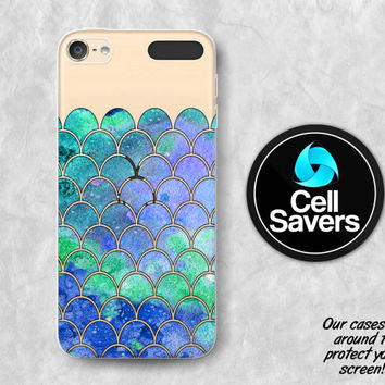 Mermaid Scales Clear iPod 5 Case iPod 6 Case iPod 5th Generation iPod 6th Generation Rubber Case Gen Clear Case Blue Mint Mermaid Girly Cute