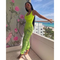 Women Fashion Two Piece Neon Tank Bodysuit See Through Jogging Pants Set