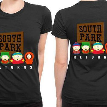MDIGGW7 South Park Returns 2 Sided Womens T Shirt