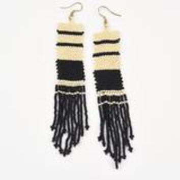 Seed Bead Earring with Fringe- Black and White Stripe