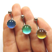 Mood Stone Color Changing Belly Button Ring Navel Jewelry Piercing Faceted Moodstone Bar Barbell Stud Teal Turquoise Green Aqua