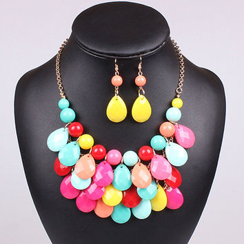 Women's top2015 Fashion spring Teardrop promotion Water Drop Bib necklaces pendants multi-color bubble necklace earring jewelry