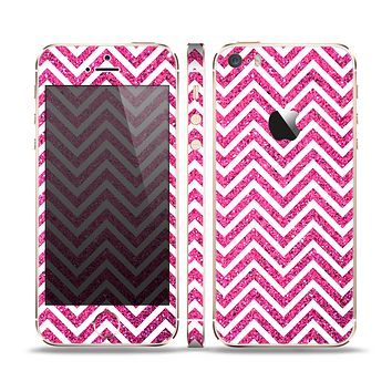 The Pink & White Sharp Glitter Print Chevron Skin Set for the Apple iPhone 5s