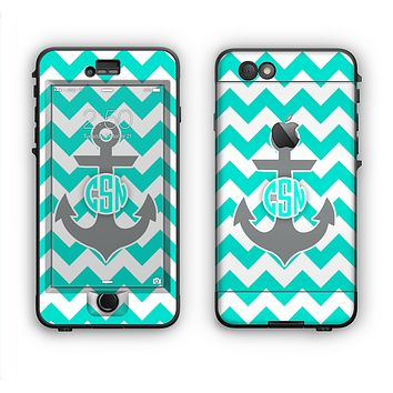 The Teal Green and Gray Monogram Anchor on Teal Chevron Apple iPhone 6 LifeProof Nuud Case Skin Set