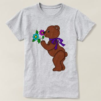 Teddy Bear with Flowers Graphic T-Shirt