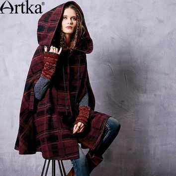 Artka Autumn Women's Hooded Coat 2017 Winter Poncho Coat Long Red Coat Female Plaid Coat Cape Woolen Cloak Abrigos FA10667Q