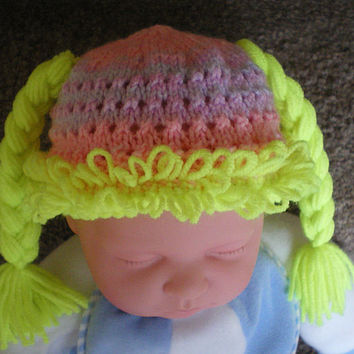 Cabbage Patch Hat,Photo Prop,Baby hat,Baby Cap,Pigtails,Fluorescent Green
