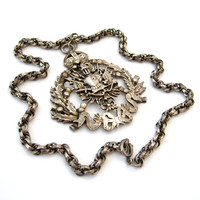 CORO Necklace / Heraldic Knight Crown Thistle Flower Huge Pendant / Vintage 1940s Jewelry