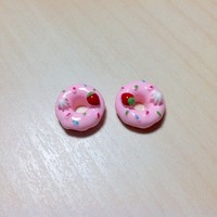 2 pcs Light Pink Donuts with strawberry, whip cream and sprinkles Cabochon Flatbacks 13 x 13 mm