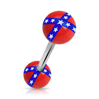 Rebel Flag Balls 316L Surgical Steel Barbell Acrylic Tongue Rings Confederate Flag