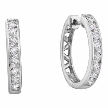 14kt White Gold Women's Round Baguette Diamond Hoop Earrings 1-2 Cttw - FREE Shipping (US/CAN)