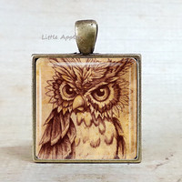 Chestnut brown owl necklace, bronze keychain, artistic sketch,  bird drawing, owl illustrations, woodland necklace, unisex gift