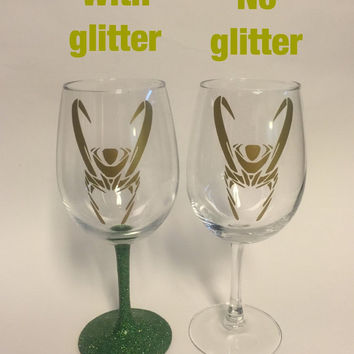 Loki of Asgard, brother of Thor inspired wine glass