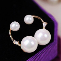 Double Pearl and Rhinestone Crescent Earrings - LilyFair Jewelry