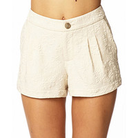 Pleated Floral Matelassé Shorts