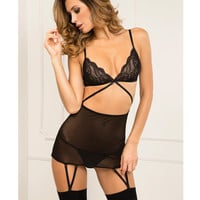 Rene Rofe Lace Top Garter Chemise & G-string Set Black M-l