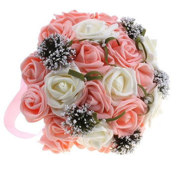 High Simulation White Rose Bridal Holding Flowers Bouquet Wedding Flower Decorations Valentine's Gift = 1932470916