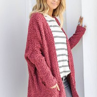 Eyes Closed Marsala Open Front Cardigan
