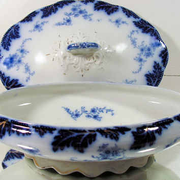 Antique Flow Blue China Covered Vegetable Bowl - Vintage 1880s - Brazil Pattern - W. H. Grindley & Co.