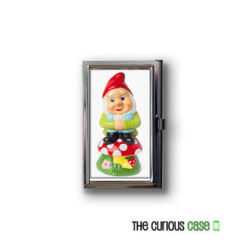 Business Card Case Cheeky Garden Gnome Metal Case Fits Business Credit Debit and Gift Cards