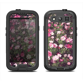 The Vintage Pink Floral Field Samsung Galaxy S4 LifeProof Fre Case Skin Set
