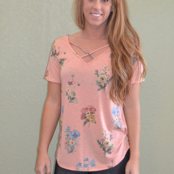Criss Cross Floral Print Top: Peach