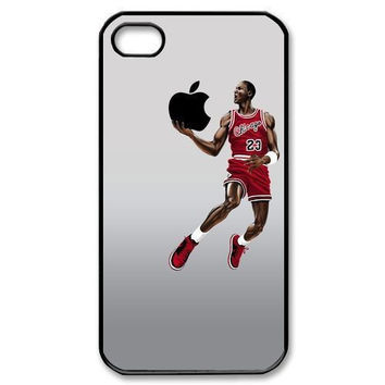 Michael Jordan Dunking Apple Logo Case Cover For IPhone 4 4S 5 5S 5C 6 6s