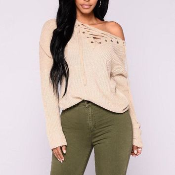 MDIGON1O Day First Emma Rose Lace Up Sweater - Oatmeal
