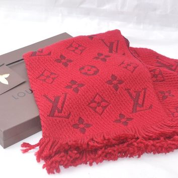 Authentic Louis Vuitton Monogram Scarf Wool Silk Red LV 46933