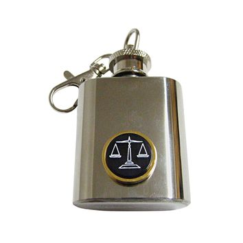 Golden Scale of Justice Law 1 Oz. Stainless Steel Key Chain Flask