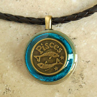 Pisces Necklace: Blue - Mens Necklace - Mens Jewelry - Astrology - Boyfriend Gift - Zodiac - Birthday Gift - Leather Cord - Fathers Day