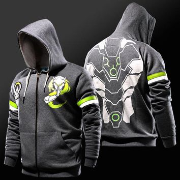 Overwatch Genji Glow Fleece Lined Zip Up Hoodie