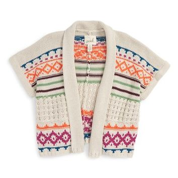 Peek 'Aztec' Shawl Collar Sweater (Toddler Girls, Little Girls & Big Girls) | Nordstrom