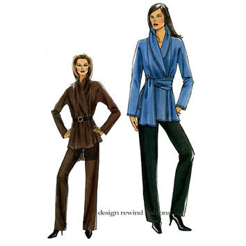 VOGUE WRAP JACKET & Pants Shawl Collar Jacket Sash Style Belt Vogue 8167 Women's Sewing Patterns Bust 32.5 34 36 38 UNCuT Very Easy Vogue