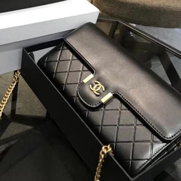 CHANEL Fashion Women Shopping Black Leather Metal Chain Crossbody Shoulder Bag I-WXZ2H
