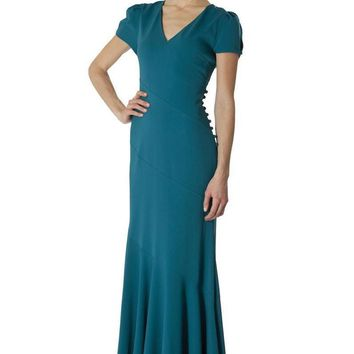 JS Collections - 863984 Puff Sleeved Evening Gown with Sectional Swirls