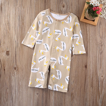 Happy Newborn Kid Baby Boys Girls Cotton Romper Swan long-sleeved Jumpsuit Bodysuit Outfit Clothes