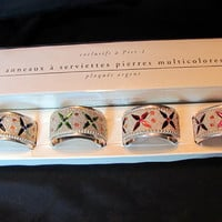 Jeweled Napking Rings, Silver Plated Napkin Rings / Still in Box New Old Stock Napkin Rings