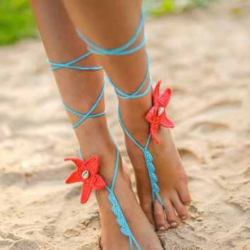 Coral and Aqua Starfish Seashells Crochet Barefoot Sandals, Bridal accessory, Bridal jewelry, Beach wedding Foot jewelry, Bridal shoes, Sexy