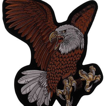 Flying Screaming Eagle Patch Embroidered Motorcycle Rider Biker Jacket Large 15""